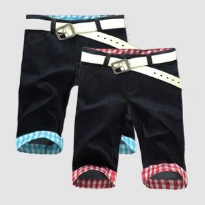 short en jean avec revers à carreau