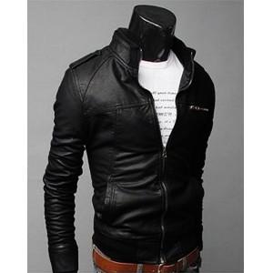 Blouson en faux cuir noir ou marron. Slim et fashion