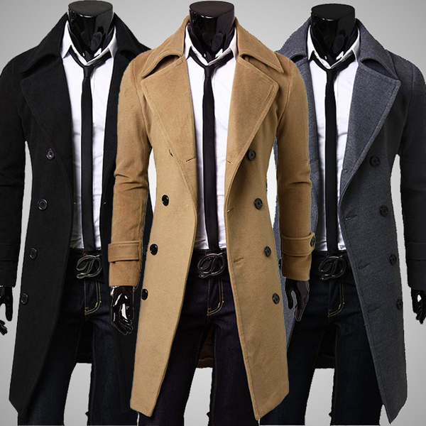 manteau l gant pardessus double fermeture gabardine homme trench long c and c chic and cheap. Black Bedroom Furniture Sets. Home Design Ideas