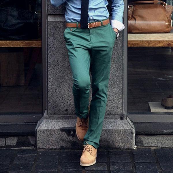 Slim Homme Couleur Pantalon Coton Slim de Couleur