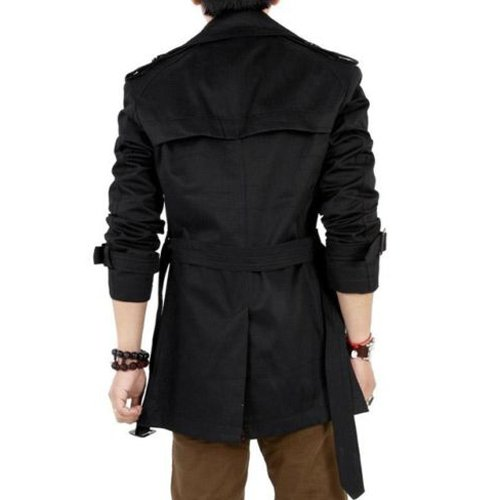 sodial r hommes hiver mince double boutonnage trench coat veste longue pardessus manteaux noir. Black Bedroom Furniture Sets. Home Design Ideas