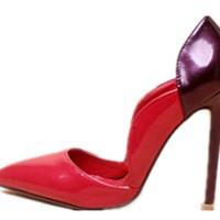 Wealsex-Escarpin-Bout-Pointu-Taille-Aiguille-Vernis-Chaussure-de-Soire-Mariage-Fte-Crmonie-Bar-Rouge-Femme-0